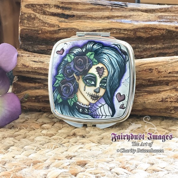 Day Of The Dead Compact Mirror By, Sugar Skull Compact Mirror