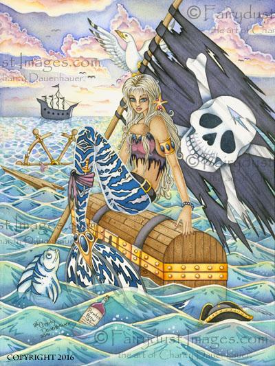 A Pirates Life, Mermaid at Sea Art Print