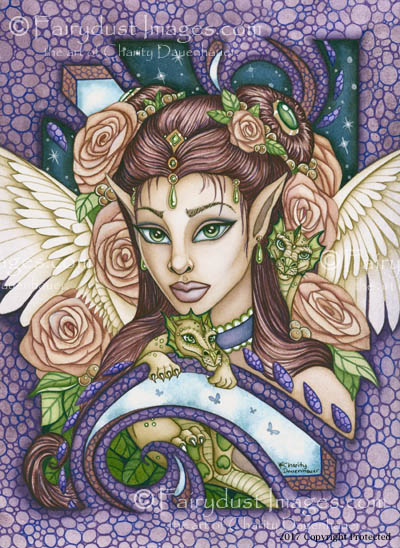 Angel Face - Angelic Baby Dragon Art Print