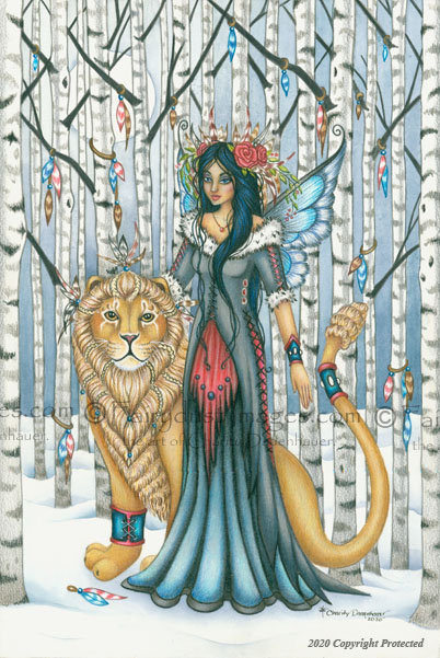 Aspen - Lion and Winter Fairy Art Print
