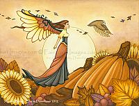 Autumn Breeze - Fairy and Owl Art Print