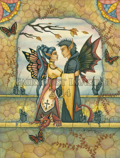 Autumn's Goodbye - Fairy Couple Art Print