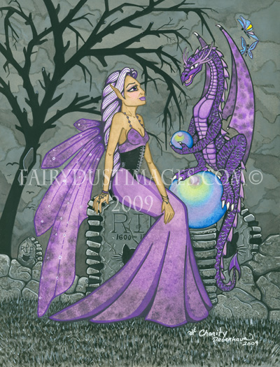 Beautiful Midnight - Purple Fairy and Dragon Art Print