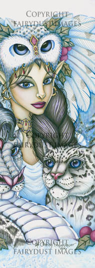 Winter's Snow Queen - Fairy Leopard Dragon Bookmark