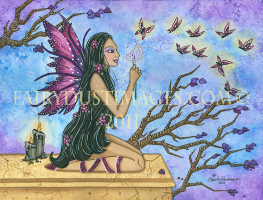 Butterfly Wishes - Dandelion Fairy Art Print