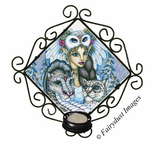 Winter's Snow Queen - Owl Fairy and Leopard Dragon Candle Sconce