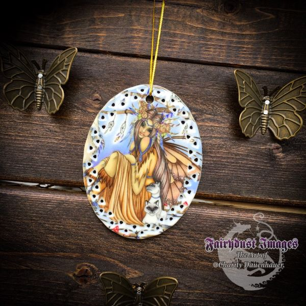 Catching Dreams - Fairy, Wolf and Owl Ornament