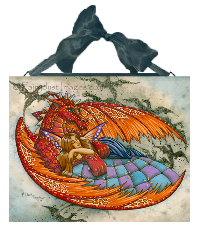 In the Arms of the Protector - Fairy and Dragon Ceramic Tile Plaque
