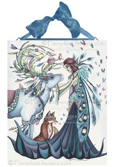 Winter 39 s reindeer peacock fairy and reindeer art print for Plaque ondulee polycarbonate transparent