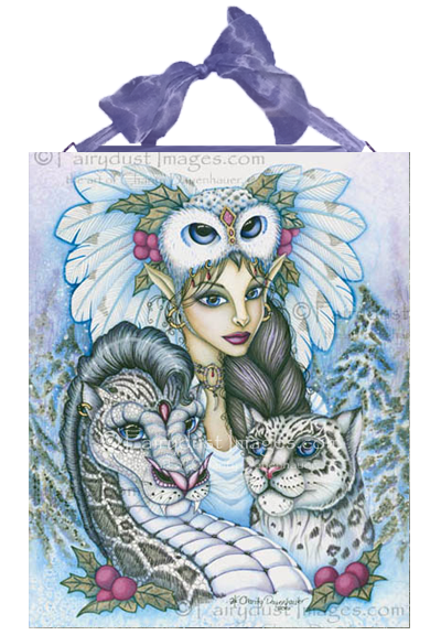 Winter's Snow Queen - Fairy And Leopard Dragon Ceramic Tile Plaque