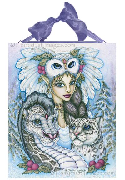 Winter's Snow Queen - Fairy And Leopard Dragon Ceramic Tile Plaque