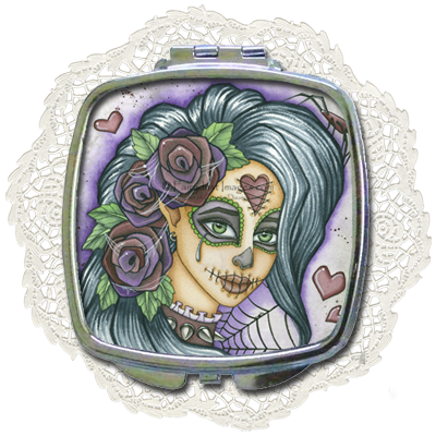 Spider Bite - Sugar Skull Compact Mirror