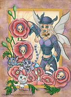 Day of the Poppy - Gothic Fairy and Wild Cat Art Prints