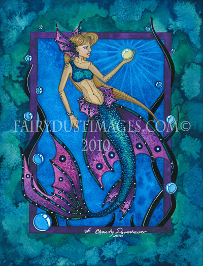 Deep Blue Waters - Mermaid Art Print