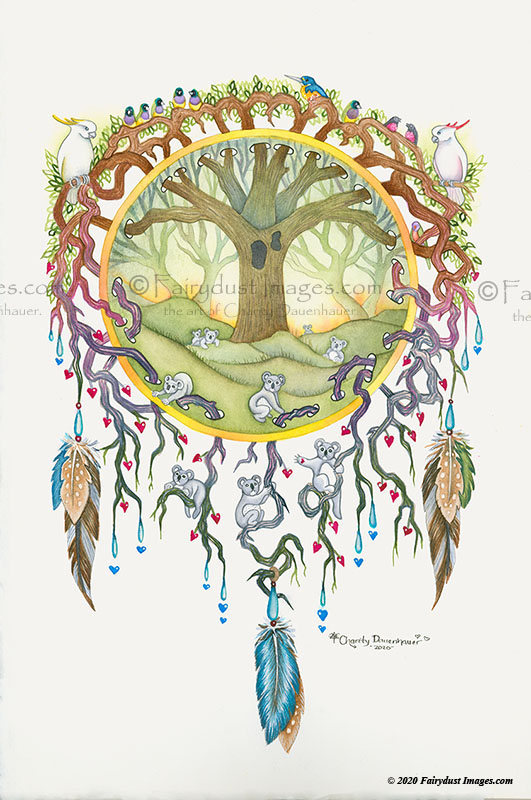Embracing Aussie - Koala Bear - Tree of Life - Australia Fire Art Print