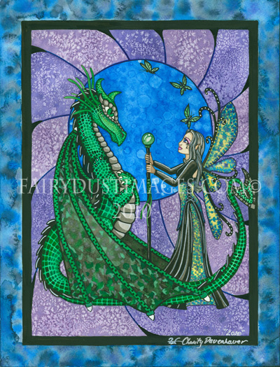 Enchant Night - Magical Fairy and Dragon Art Print