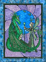 Enchant Night - Magical Fairy and Dragon Art Print