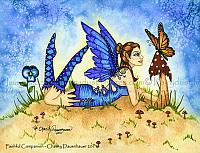 Faithful Companion - Fairy and Monarch Butterfly Art Print