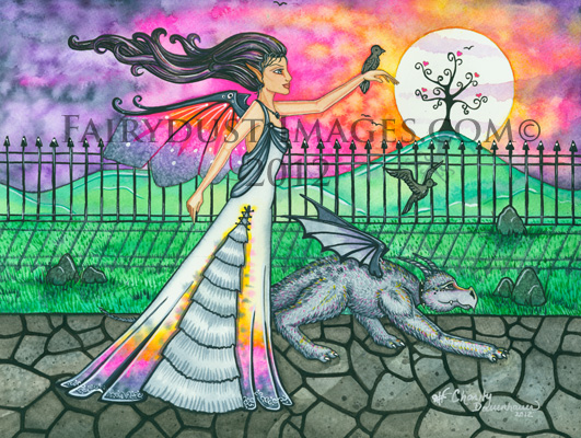In Search of Tomorrow - Fairy and Dragon Art Print