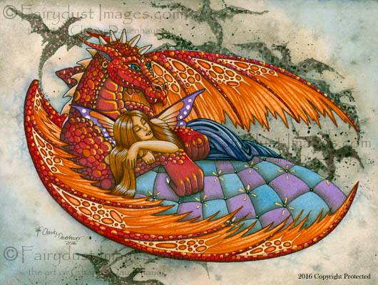 In the Arms of the Protector - Dragon and Fairy Art Print