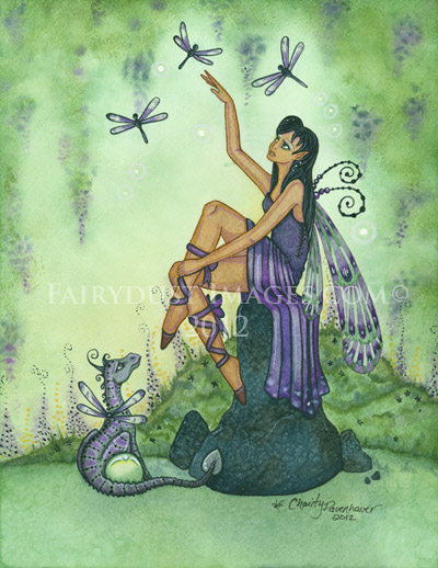 Land of Dragonflies - Dragonfly Fairy Art Print