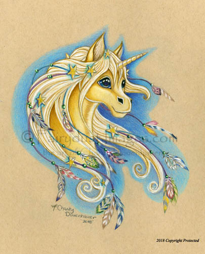 Magical - A Golden Unicorn Art Print