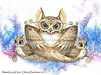 Mama Gives a Hoot - Owl with Babies Art Print