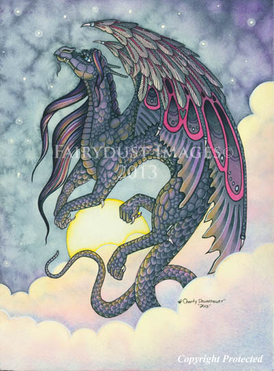 Midnight - Black Dragon Art Print