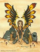 Misfit Kitty - Fairy and Bengal Cat Art Print