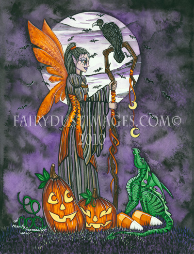 Moonlit Magic - Halloween Fairy and Dragon Art Print