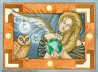 Mother Earth - Angel and Owl Art Print
