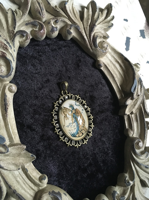 My Little Friend - Angel and Baby Dragon Cameo Pendant Necklace