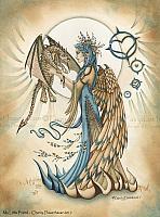 My Little Friend - Angel and Cat Dragon Art Print