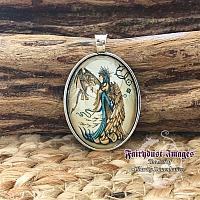 My Little Friend - Angel and Cat Dragons - Cameo Pendant Necklace