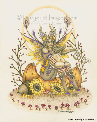 Pumpkin - Autumn Fairy Art Print