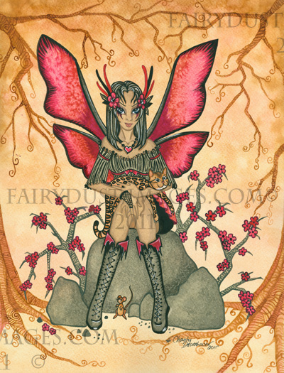 Purr-ty in Pink - Fairy and Bengal Cat Art Print
