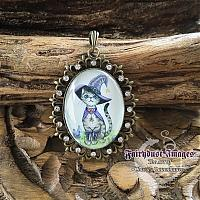 Switch - Cat in a Witch Hat - Fancy Pendant Necklace