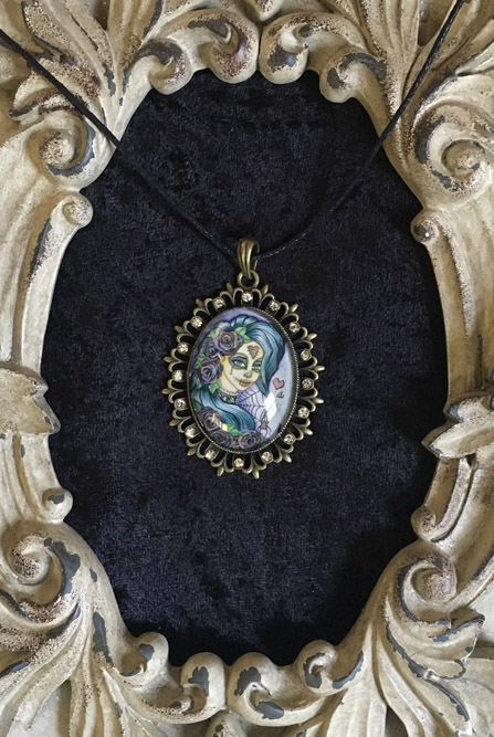 Spider Bite - Sugar Skull Cameo Pendant Necklace
