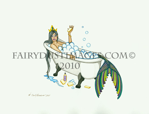 Splish Slash - Mermaid in Bathtub Art Print