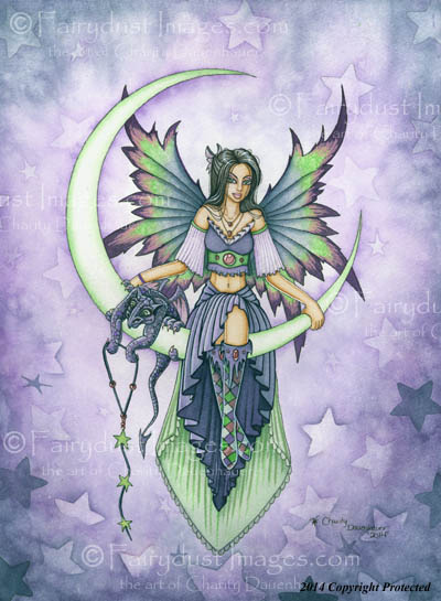 Starry Night - Crescent Moon Fairy Art Print