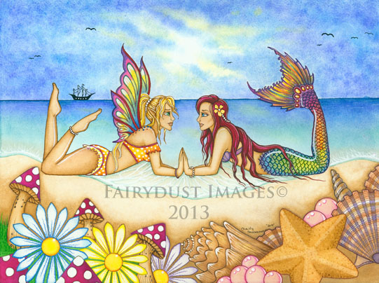 Summertime Beauties - Mermaid and Fairy Art Print