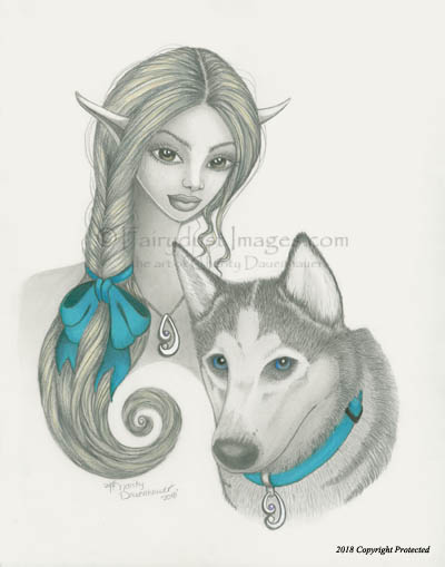 The Bond - Fairy and Husky Art Print