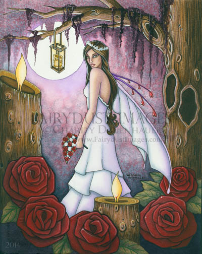 Bride of Red Roses - Fairy Wedding Art Print