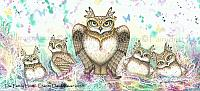 The Family Hoot - Mother Owl with Babies Art Print