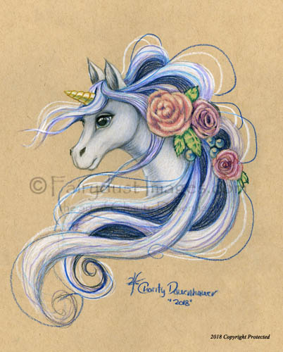 Flowered Unicorn - Fantasy Art Print