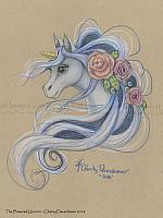 Flowered Unicorn - Fantasy Art Print