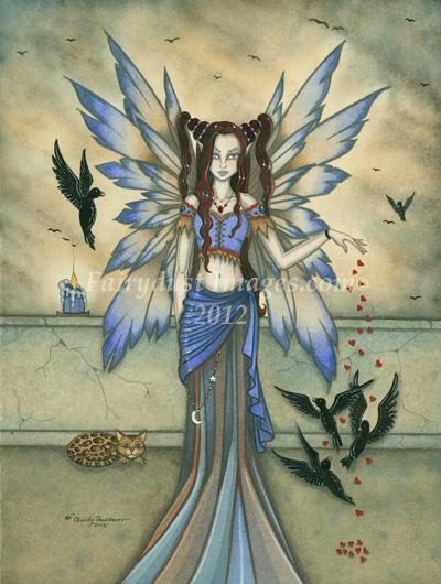 The Midnight Feeding - Gothic Fairy Art Print