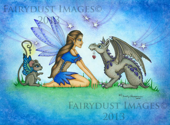The Not So Hidden Key - Fairy and Baby Dragon Art Print