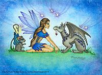 The Not So Hidden Key - Fairy and Baby Dragon Art Print