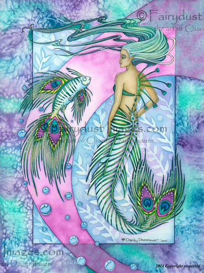 The Peacock Mermaid - Fantasy Art Print